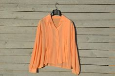 Peach pink silk shirt by RoaringRetro on Etsy, $39.00