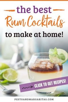 16 rum cocktails including white rum cocktail, dark rum cocktail and coconut rum cocktail to make you love rum. Learn about simple sum cocktail recipes including mojito, Pina colada and daiquiri as well as fancy new cocktails that use rums from around the Best Rum Cocktails, Rum Cocktail Recipes, Beach Cocktails, Cocktail Menu, Cocktail Making, Winter Cocktails, Simple Cocktail Recipes, Drink Recipes, Mojito