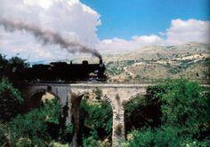 La locomotiva a vapore 740.244 in testa al Treno del Barocco impegna un piccolo ponte ad archi presso  un'insenatura della Valle del Fiume Irminio, tra Ragusa e Modica