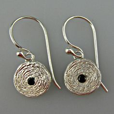 Sterling silver earrings with black spinel gemstones - Covett