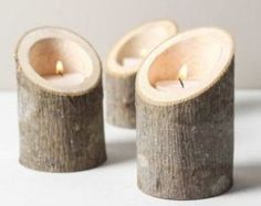 Tree Branch Candle Holders Set of 3 Short Angled- Rustic Woo