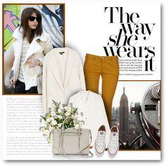 Converse + coat. by bliznec on Polyvore featuring moda, Vanessa Bruno, DKNY, 40WEFT, Converse and Rebecca Minkoff