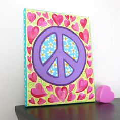 Childrens Art PEACE and HEARTS 10x8x3/4 Acrylic Canvas by nJoyArt, $40.00