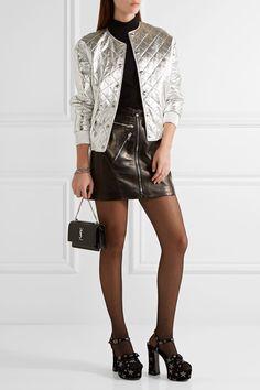 Saint Laurent - Candy Glittered Suede Platform Sandals - Black - IT35.5