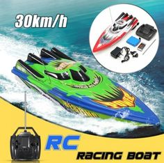 New Arrival Radio Remote Control Twin Motor High Speed Boat RC Racing Outdoor Red/Green Remote Control Boat, Radio Control, Boat Radio, Speed Boats, Big Challenge, High Speed, South America, Red Green