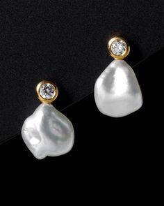Tiffany & Co. 'Elsa Peretti' 18K 0.28 cttw. Diamond & 11mm Pearl…