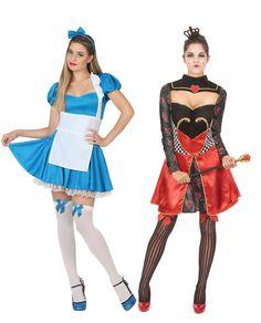 Déguisement de couple reine de coeur et rêveuse des merveilles : Déguisement rêveuse des merveilles femmeCe déguisement de rêveuse des merveilles pour adulte se compose d'une robe, d'un tablier et d'un serre-tête (bas et...