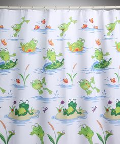 Brighten bath time by leaps and bounds! With a fun design filled with cheerful froggy friends, this shower curtain offers an effortless way to create a cheerful bathroom atmosphere. W x polyesterMachine washImported Frog Bathroom, Bathroom Kids, Frog Nursery, Frog Statues, Nautical Wall Art, Bathroom Collections, Beautiful Bathrooms, Kids Decor, Home Deco