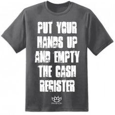 Mens Hands Up - Funny T Shirt - Charcoal