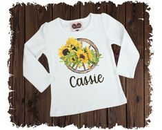 Western Sunflower Wagon Wheel Personalized Printed T-Shirt - Available in Long or Short Sleeves Boutique Shirts, Wagon Wheel, Size Chart, Short Sleeves, Graphic Sweatshirt, T Shirts For Women, Printed, Sweatshirts, Tops