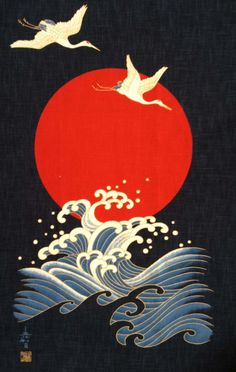 Japanese textile design: Two cranes and a wave. Crane with Moon/ Wave Panel Japanese Crane fabric with orange moon on indigo background with metallic gold outlines-Japanese fabric panel-sides are raw edges Japanese Textiles, Japanese Patterns, Japanese Fabric, Japanese Prints, Japanese Design, Japan Illustration, Digital Illustration, Japanese Waves, Japanese Crane