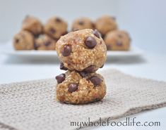 Almond Joy Bites -- sweetened with dates and just a few carob chips -- healthy little Maintenance treat.