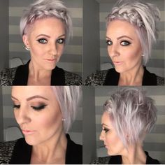 Try out a simple crown Hope everyone has a special day tomorrow. Short Hair Up, Short Hair Styles, Up Hairstyles, Wedding Hairstyles, Pixie Braids, Nothing But Pixies, Facial Aesthetics, Platinum Blonde, Pixie Cut