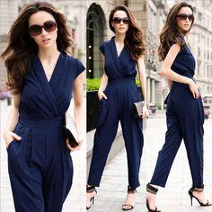 Elegant Lady V Neck Party Romper Pants Playsuit Women Sexy Sleeveless Jumpsuit #brandnew #Jumpsuit