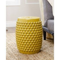 Devon And Claire Bixby Ceramic Garden Stool, Multiple Colors, Yellow