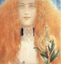fernand khnopff art | Fernand Khnopff, Head of a Woman (1899) - Pictify - your social art ...
