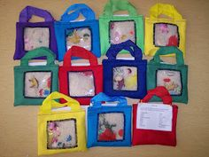 Super easy I Spy Bags made from little tote bags, and squares of fleece!