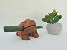 Wooden Toad Percussion Musical Instrument Handmade Carved Pre-owned Novelty
