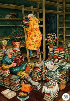 Groothandel inge look Postkaarten van Inge Look number 66 Old Lady Humor, Image Originale, Reading Art, Children's Book Illustration, I Love Books, Whimsical Art, Old Women, Book Worms, Illustrators