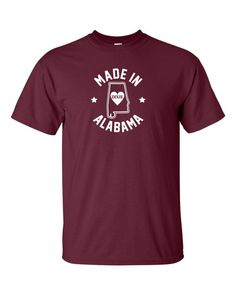 New Made in Alabama T-Shirt Choose From Over 30 by spacelabshirts Alabama T Shirts, Printed Shirts, 30th, Colorful Shirts, Size Chart, My Style, Charcoal Gray, Mens Tops, Cotton
