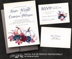 Fall Wedding Invitation & RSVP  Wedding Invitation  Printed