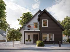 Vårt hus Accent är ett 1,5-planshus med gavelställd entré, som passar för den lite smalare tomten. Bygg ditt nya hus med Myresjöhus. Sims 4 House Design, Sims House, Tiny House Design, Minimal House Design, Minimal Home, Interior Exterior, Exterior Design, American Style House, Architecture Design