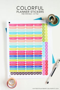 Free Printable: Colorful Planner Stickers   Silhouette Cut File