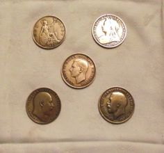 Five pennies - a queen and three kings (and Britannia).