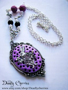 "Pastel Goth Lolita creepy cute fairy kei necklace ""Raspberry palace "" on Etsy, $16.00"