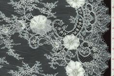 WHITE BEADED CHANTILLY LACE WITH CHIFFON EMBROIDERED FLOWERS,