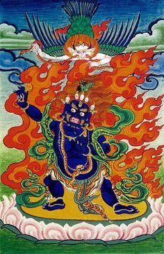 Trakpo Sumtril, a Combined Form of Vajrapani, Hayagriva and Garuda Buddhist Symbols, Buddhist Art, Tibetan Art, Tibetan Buddhism, Vajrayana Buddhism, Thangka Painting, Sacred Art, Religious Art, Deities