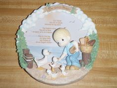 Precious Moments Enesco 3D Collector Plate The Lord's Prayer Beach Ducks A725A