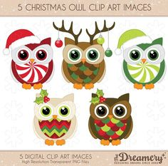 5 Christmas Owl Clip Art Images PNG by TheDreameryDesigns Christmas Owls, Christmas Clipart, Christmas Time, Christmas Crafts, Christmas Ornaments, Owl Punch, Punch Art, Owl Crafts, Paper Crafts