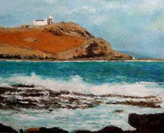 Cuadro al oleo de una marina del faro de Arinaga en la isla de Gran Canaria perteneciente a una serie de cuadros de las Islas Canarias.