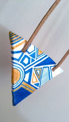 Shop Blue pendant, handmade necklace, Polymeric clay necklace, Ethnic tribal necklace, Geometric, Minimal, Painted blue, Modern, Art necklace