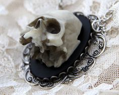 Skull Cameo necklace - Eternal - Victorian Gothic 3D skeleton cameo psychobilly zombie steampunk jewelry rockabilly wedding the walking dead