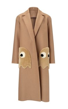 Oversized Coat Ghosts In Camel Wool With  Shearling Trim by ANYA HINDMARCH for Preorder on Moda Operandi