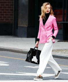 Slip on leopard sneakers and a pink blazer