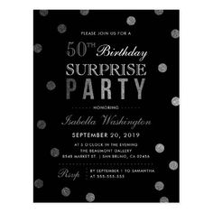 Silver Confetti & Black Surprise Birthday Party Postcard