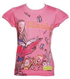 roald dahl, images | Kids_Pink_Matilda_Roald_Dahl_T_Shirt_from_Fabric_Flavours_hi_res.jpg