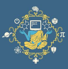 "A blue figure clad in yellow robes with a monitor which displays ""HELLO WORLD"" for a head is surrounded by a mandala design containing caffeine, a 20-sided die, Pi, a sword and shield, a D-pad, a Bohr-model atom, Saturn (or some other ringed planet), a power symbol, and a brain on an indigo blue, 100% cotton t-shirt."