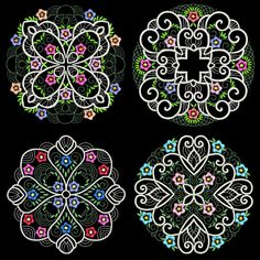 CURLY BAROQUE FLOWERS - 30 Machine Embroidery Designs Instant Download 4x4 5x7 6x10 hoop (AzEB)