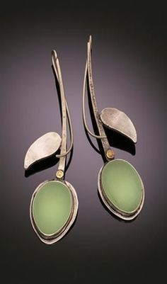 Pastel Extension Earrings :: Tai Vautier, sterling silver chrysoprase earrings