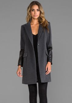 Mason by Michelle Mason Leather Sleeved Coat in Grey