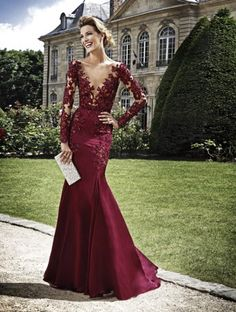 Gorgeous burgundy lace gown.