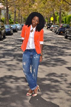 Style Pantry | Orange Blazer + White Shirt + Distressed Boyfriend Jeans