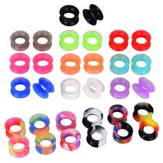 24PCS Thick Silicone Ear Tunnels Square Holow Ear Gauges Ear Stretcher Kits