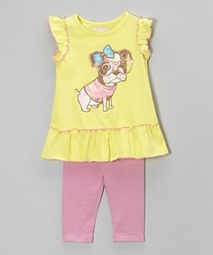 Look what I found on #zulily! Lemon Dog Tunic & Pink Leggings - Infant, Toddler & Girls #zulilyfinds