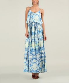 Another great find on #zulily! Blue Tribal Forest Overlay Maxi Dress by Kushi by Jasko #zulilyfinds