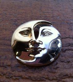 Vintage Signed Sterling Sergio Bustamante Sun Moon Embrace Gold Silver Pendant | eBay